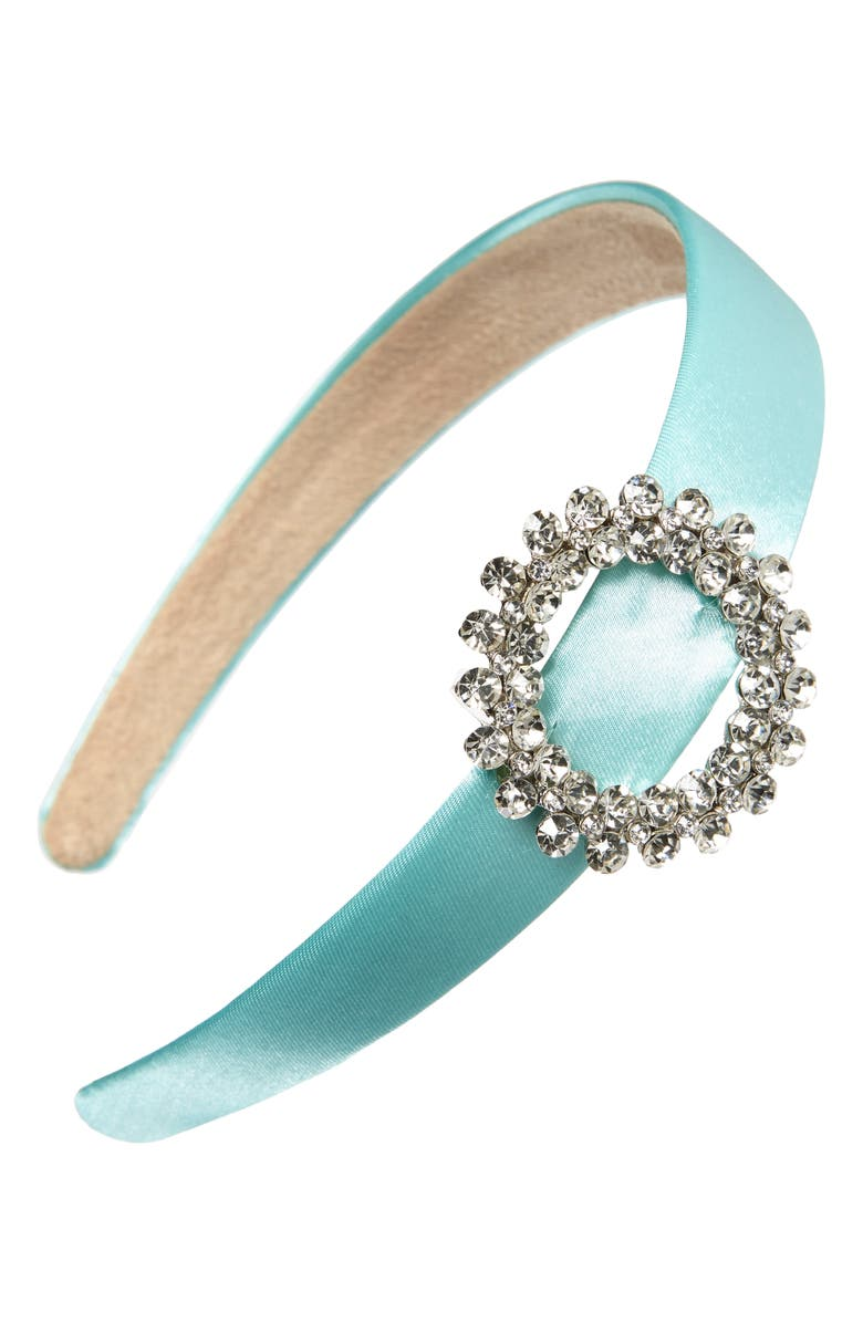 TASHA Crystal Buckle Satin Headband, Main, color, MINT