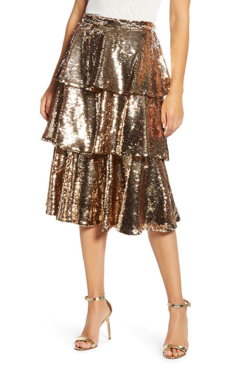 RACHEL PARCELL Tiered Sequin Skirt, Main, color, GOLD SEQUIN