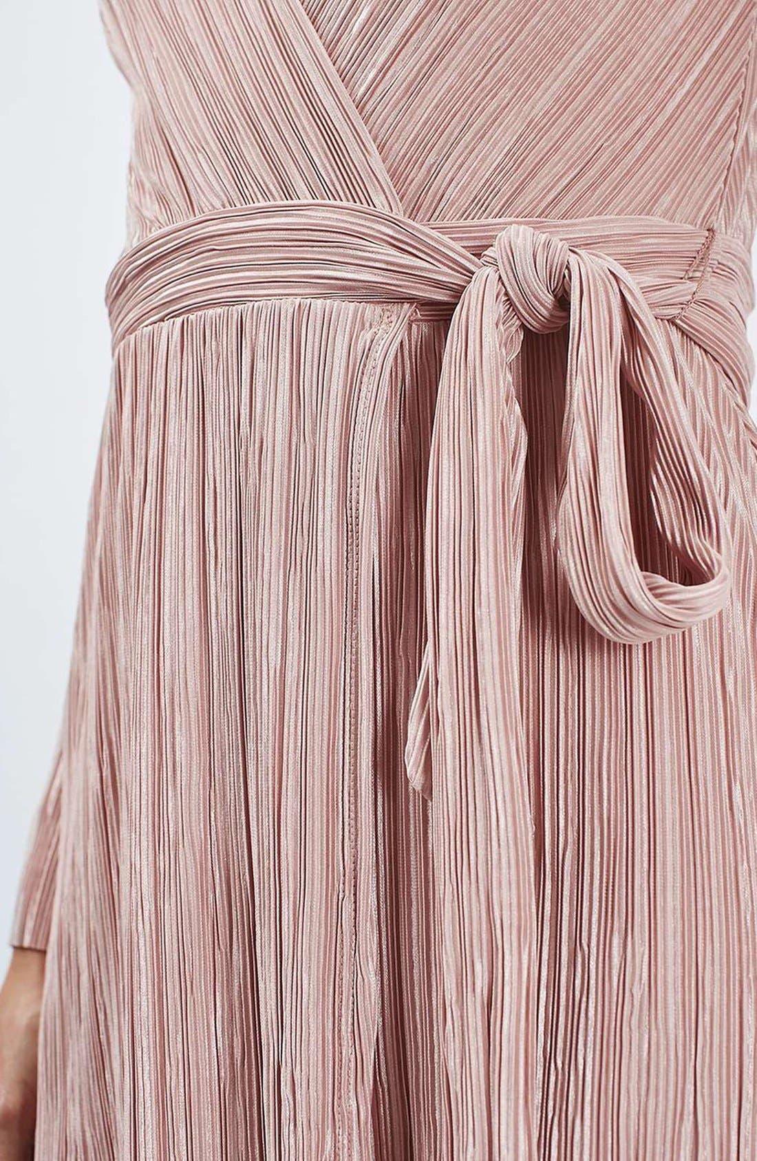 ,                             Plissé Wrap Minidress,                             Alternate thumbnail 4, color,                             250