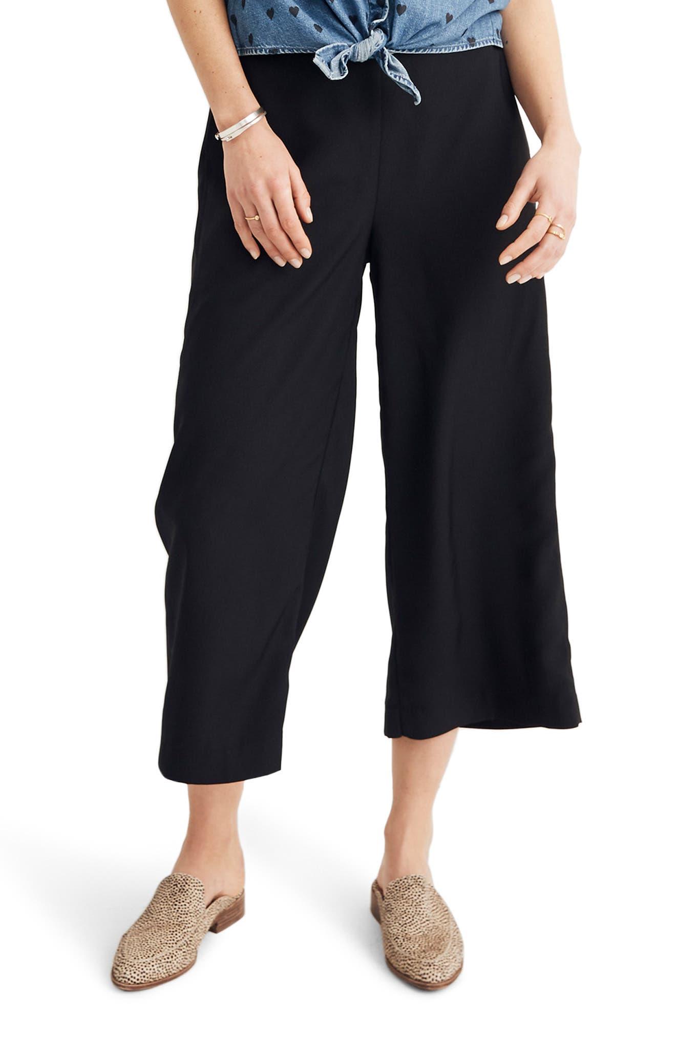 Women's Madewell Huston Pull-On Crop Pants,  X-Small - Black