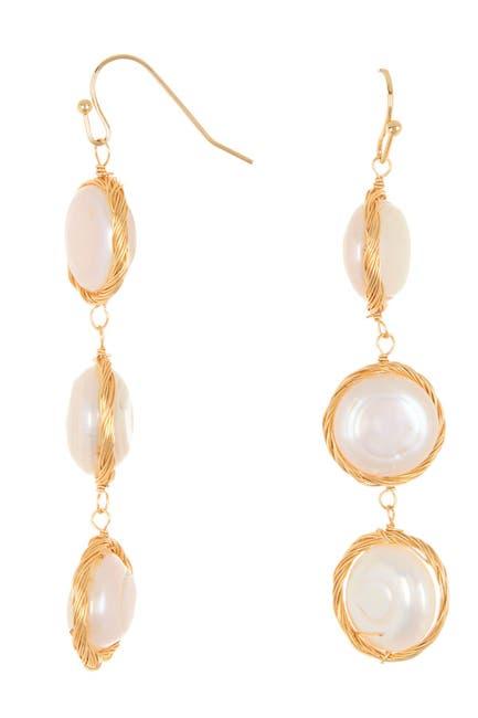 Image of Panacea Faux Pearl Linear Drop Earrings