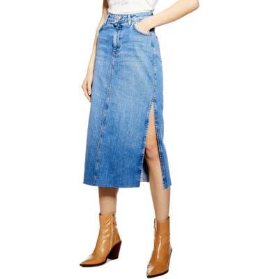 Topshop Split Denim Midi Skirt, US - Blue