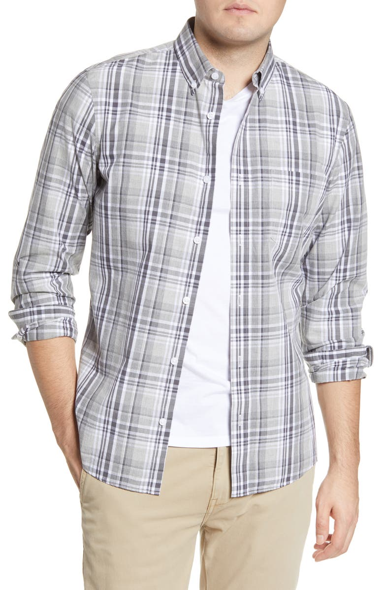 1901 Slim Fit Plaid Button-Down Shirt, Main, color, 050