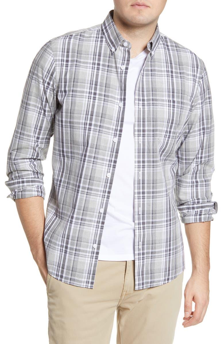 1901 Slim Fit Plaid Button-Down Shirt, Main, color, GREY SILK LINEN MADRAS CHECK