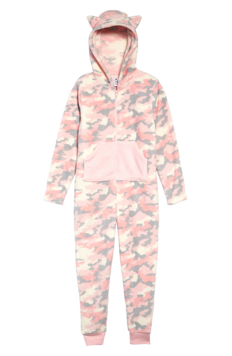 TUCKER + TATE Cat Ear One-Piece Pajamas, Main, color, PINK CRYSTAL CAMO