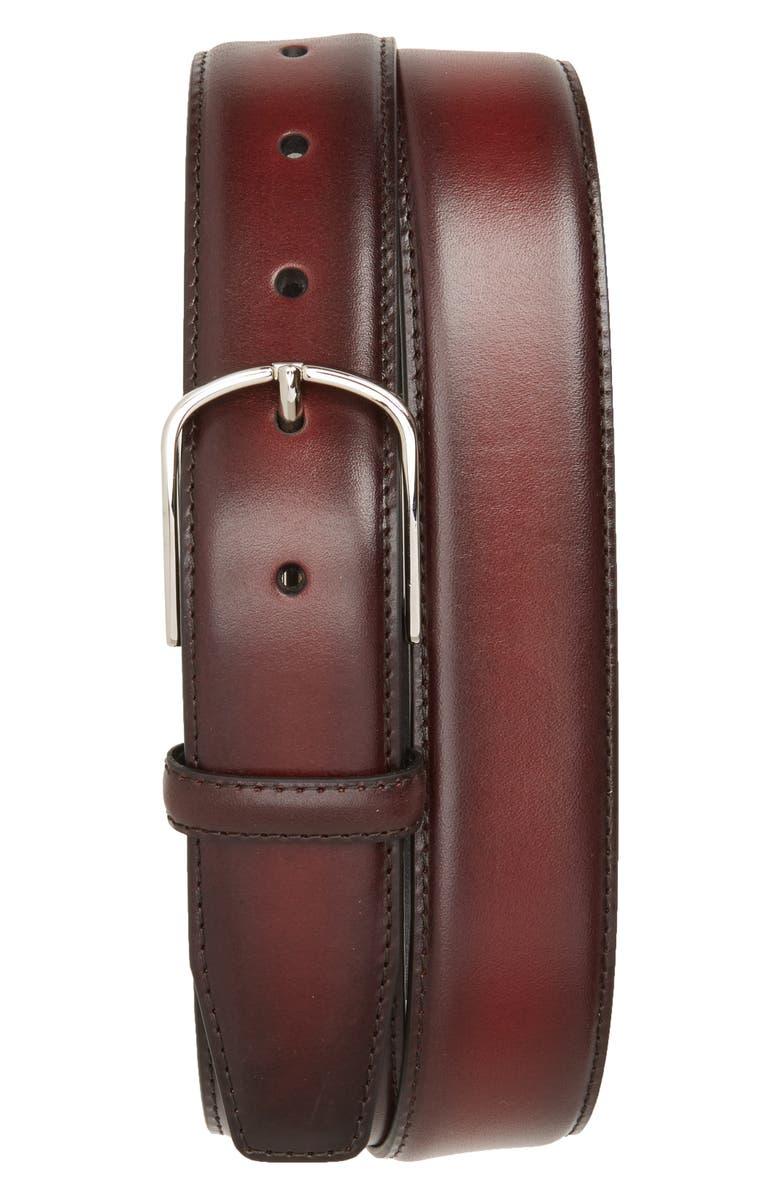 CANALI Hand Buffed Calfskin Belt, Main, color, BURGUNDY