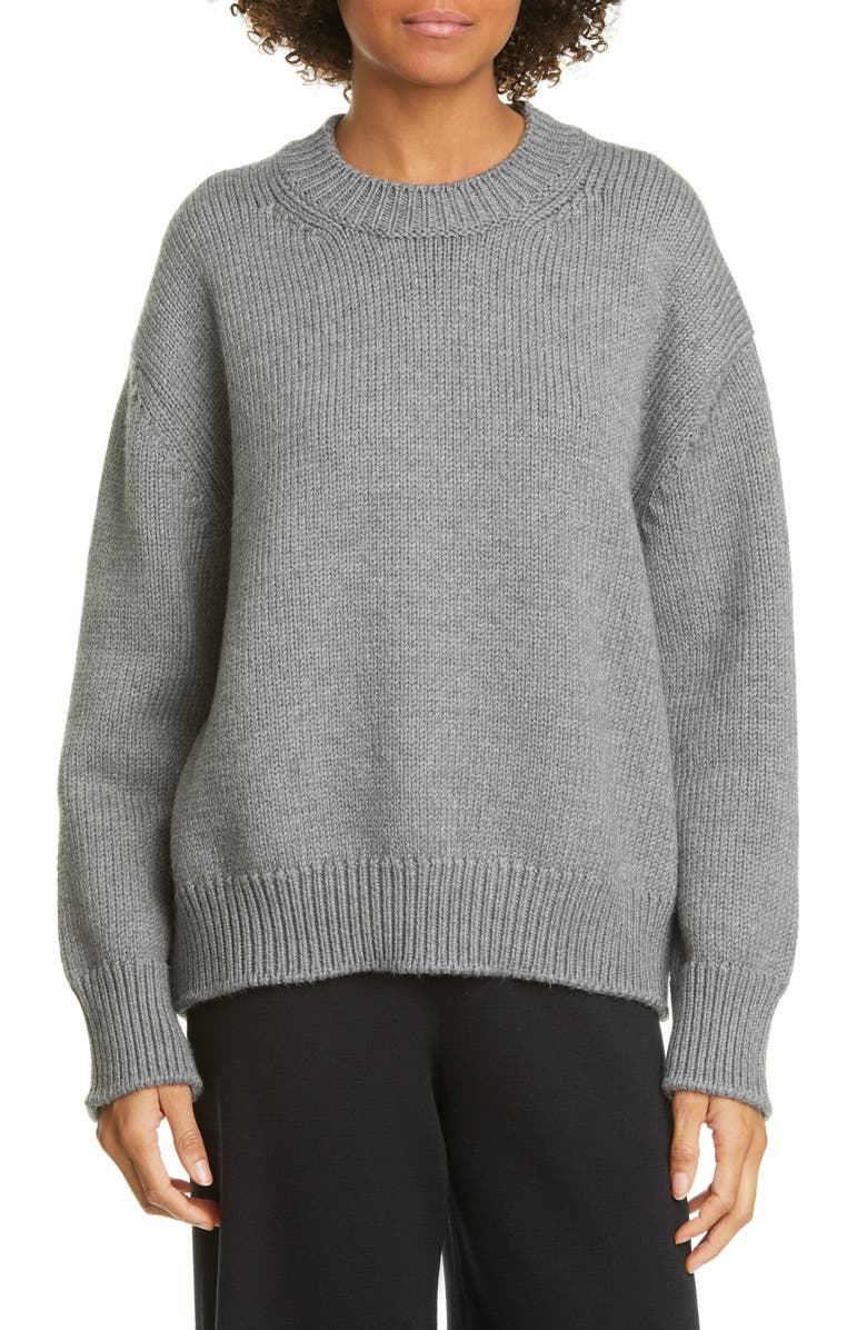 MANSUR GAVRIEL Wool Crewneck Sweater, Main, color, GREY MELANGE