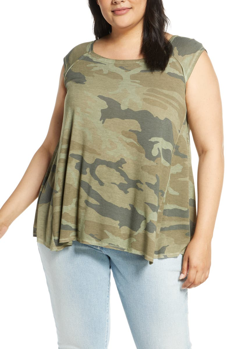 DANTELLE Oil Dye Print Swing Tank, Main, color, CAMO MILITARY OLIVE
