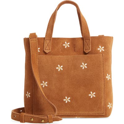 Madewell The Small Transport Crossbody Daisy Embroidered Suede Edition - Brown