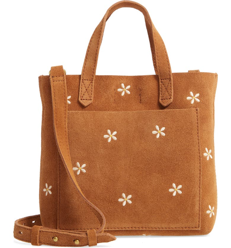 MADEWELL The Small Transport Crossbody Daisy Embroidered Suede Edition, Main, color, EQUESTRIAN BROWN