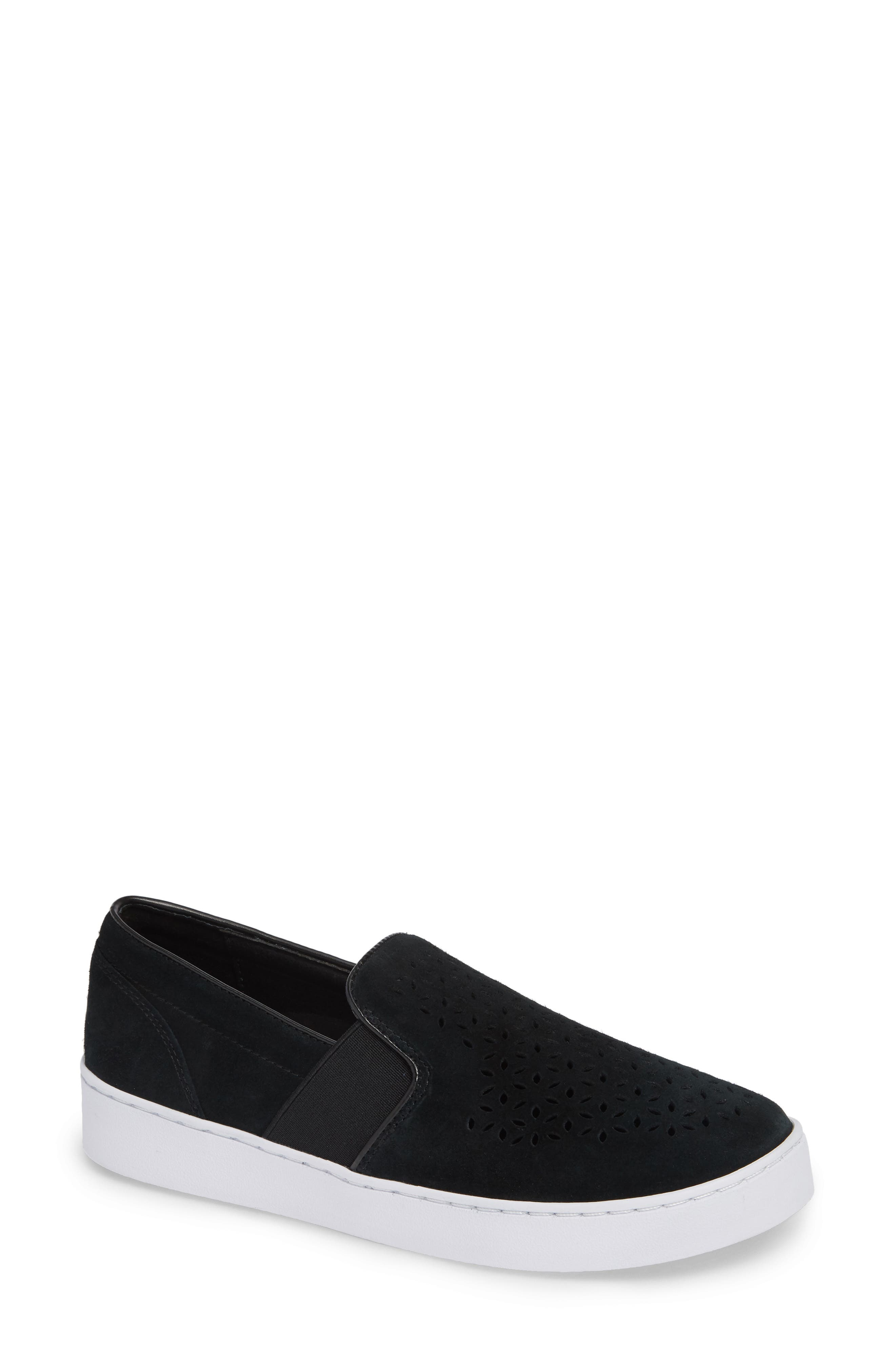 ,                             Kani Perforated Slip-On Sneaker,                             Main thumbnail 1, color,                             BLACK NUBUCK