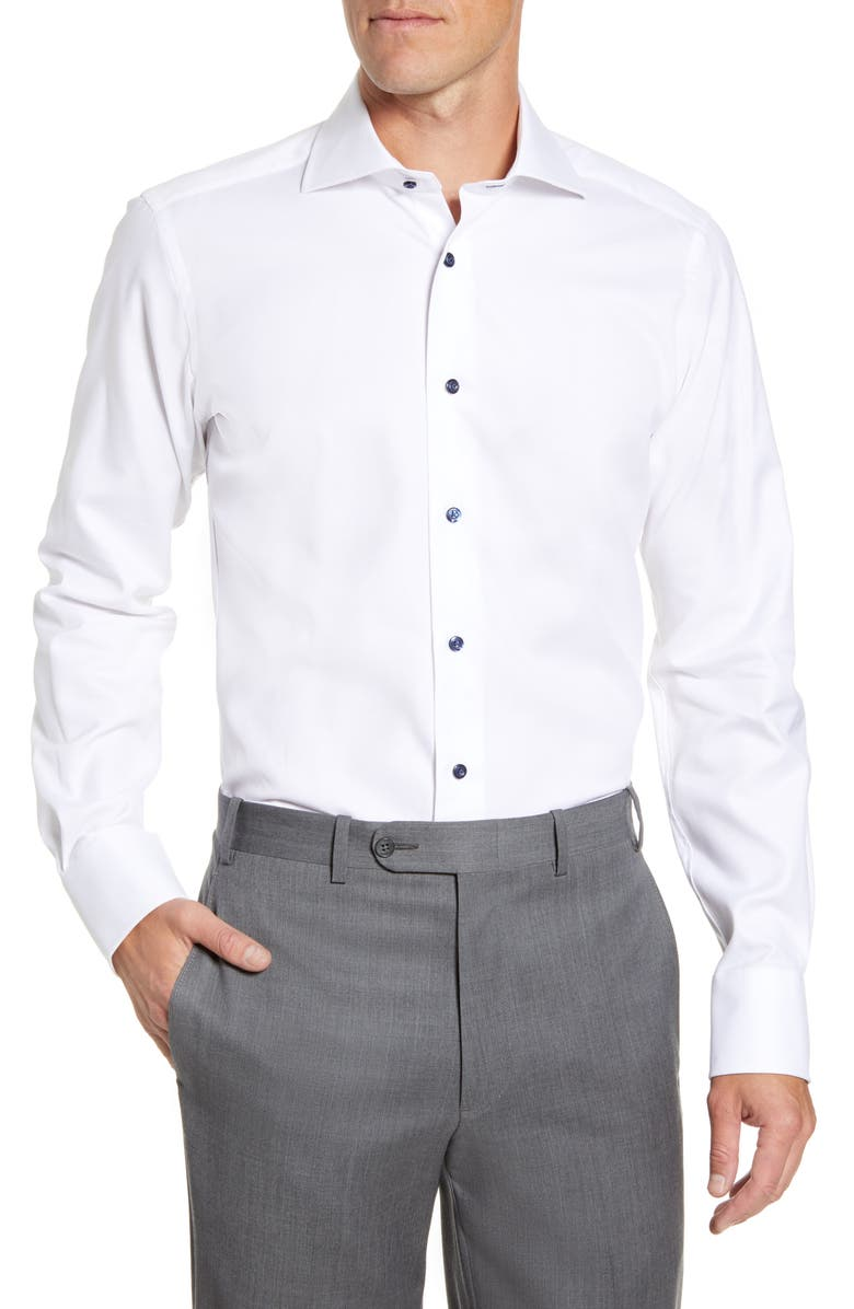 DAVID DONAHUE Trim Fit Diamond Weave Dress Shirt, Main, color, WHITE