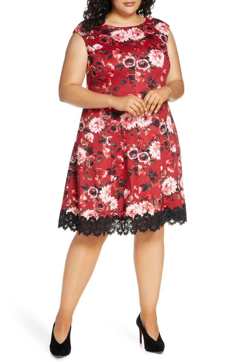 DONNA RICCO Floral Lace Hem Fit & Flare Dress, Main, color, RED MULTI