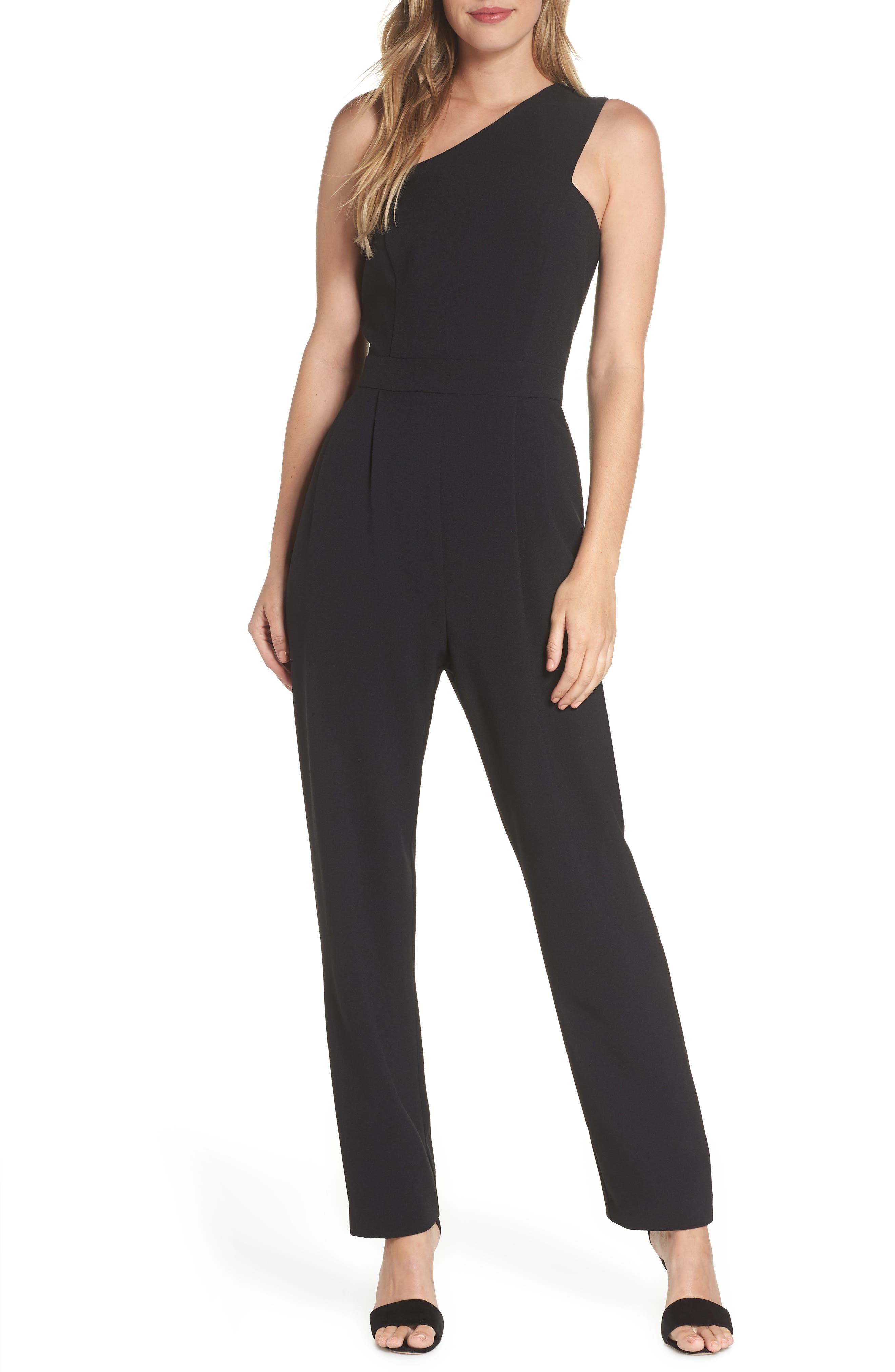 ,                             One-Shoulder Jumpsuit,                             Main thumbnail 1, color,                             BLACK