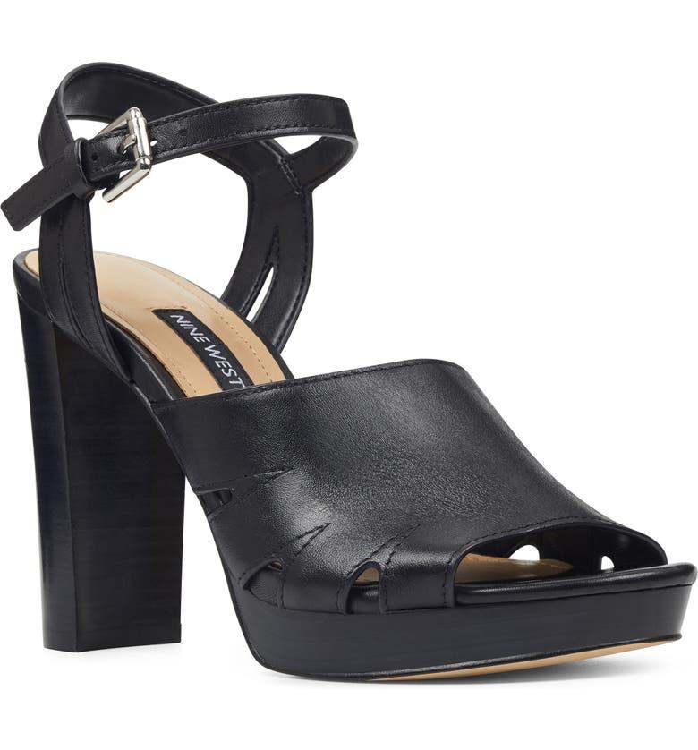 NINE WEST Delilah Cutout Sandal, Main, color, BLACK LEATHER
