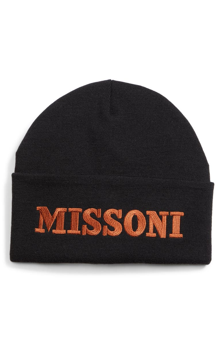 MISSONI Logo Embroidered Beanie, Main, color, 001
