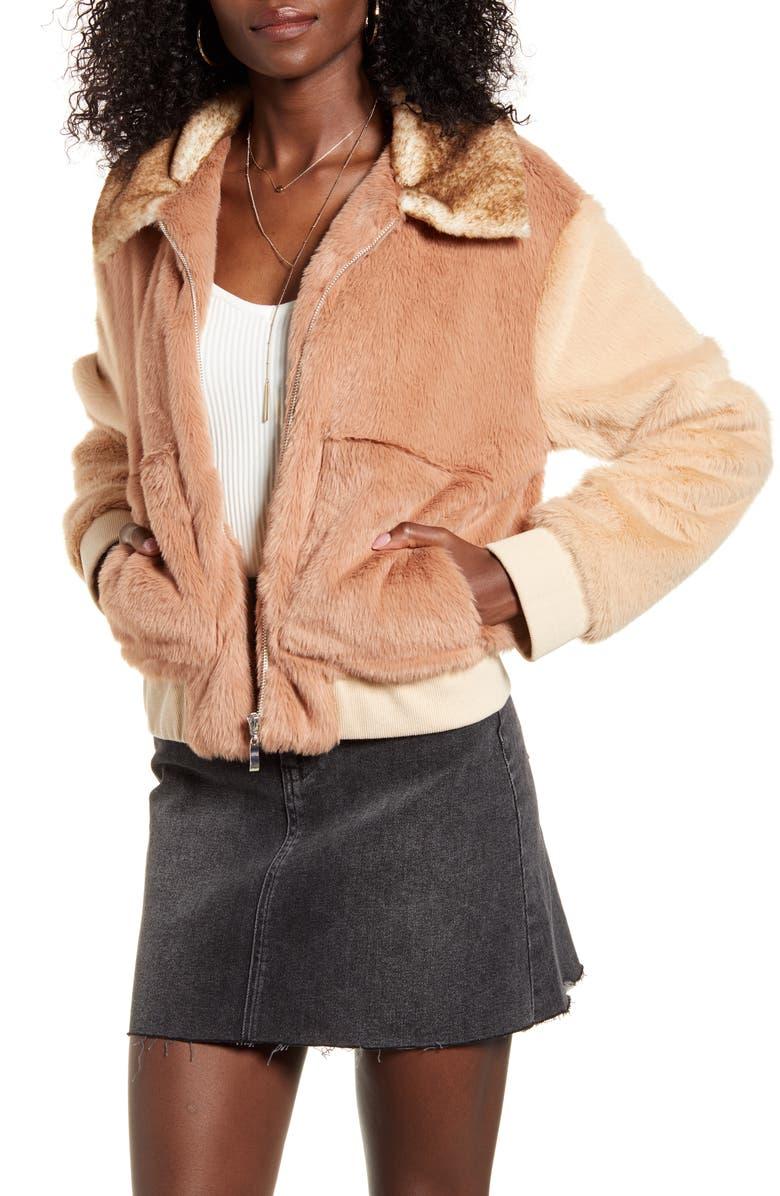 4SI3NNA Astrid Two Tone Faux Fur Bomber Jacket, Main, color, MAUVE/ BEIGE