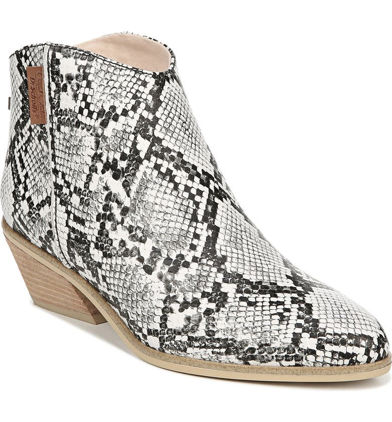 DR. SCHOLL'S Lucky One Snake Embossed Bootie, Main, color, SNAKE PRINT LEATHER