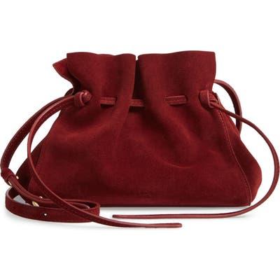 Mansur Gavriel Mini Suede Drawstring Bag - Burgundy