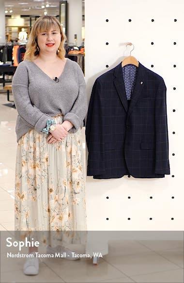 Konan Trim Fit Windowpane Stretch Wool Blend Sport Coat, sales video thumbnail