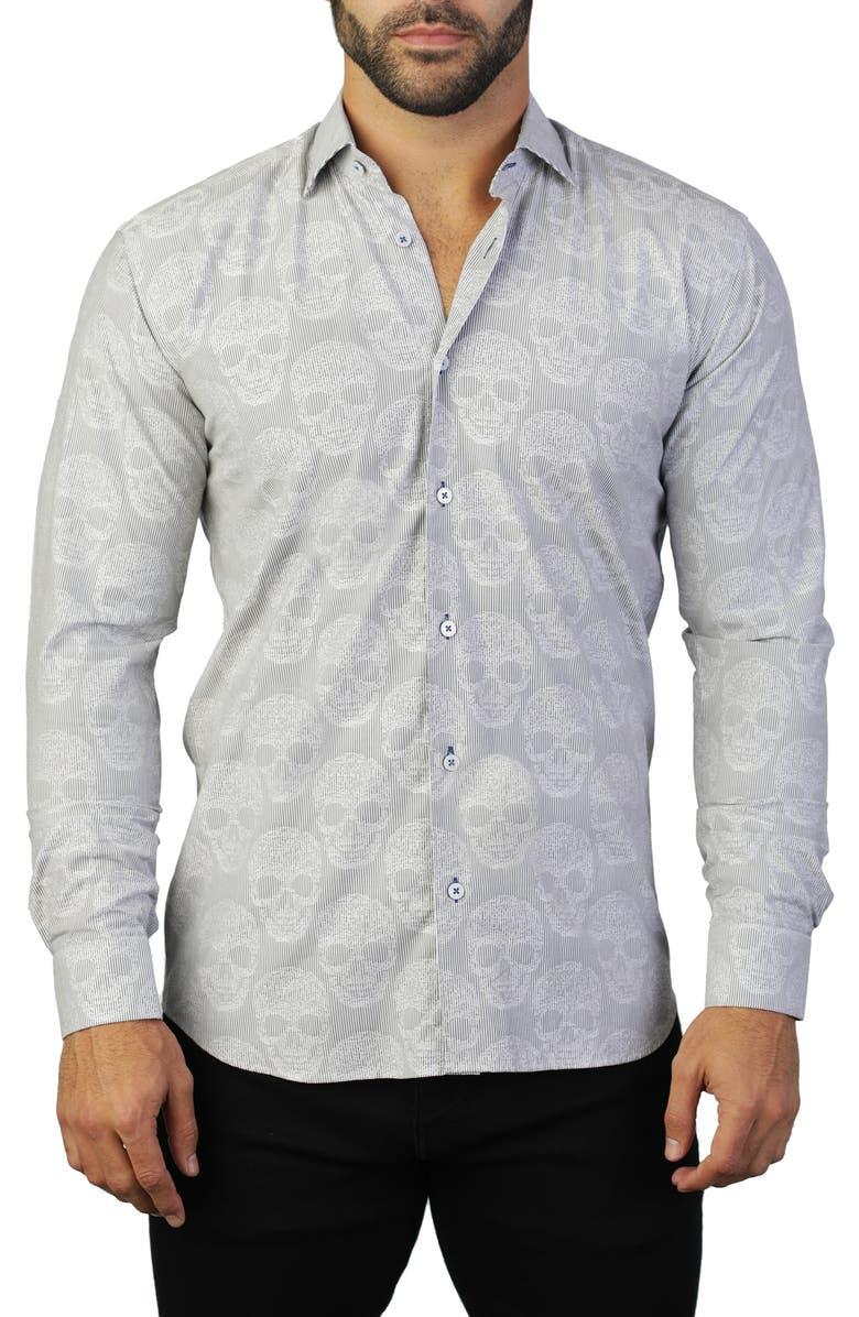 MACEOO Fibonacci Skull Regular Fit Cotton Shirt, Main, color, GREY