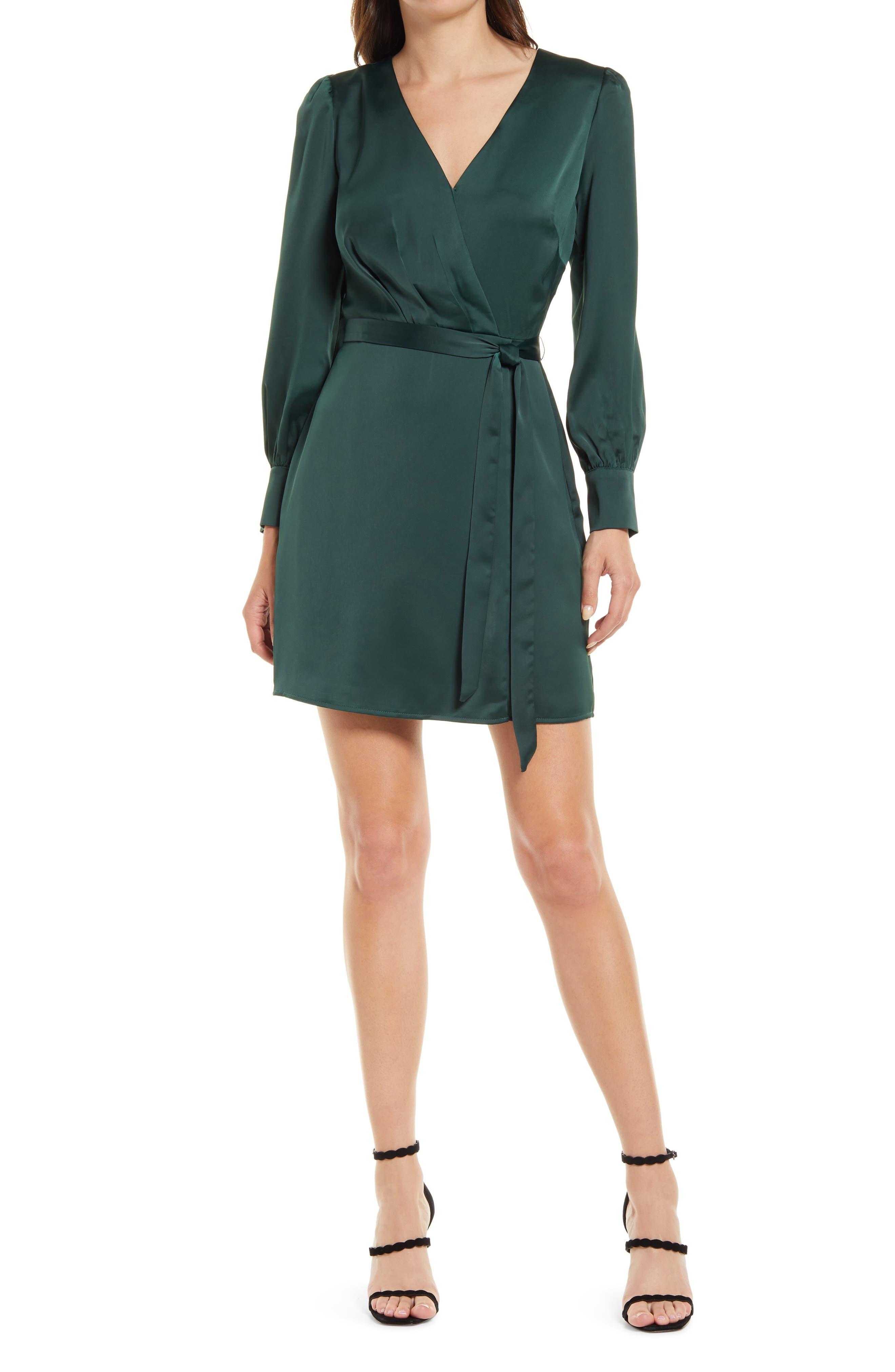 Matte Sateen Faux Wrap Long Sleeve Minidress