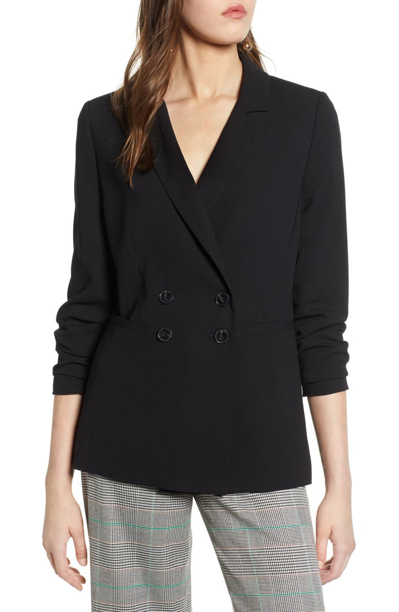 HALOGEN<SUP>®</SUP> Double Breasted Blazer, Main, color, BLACK