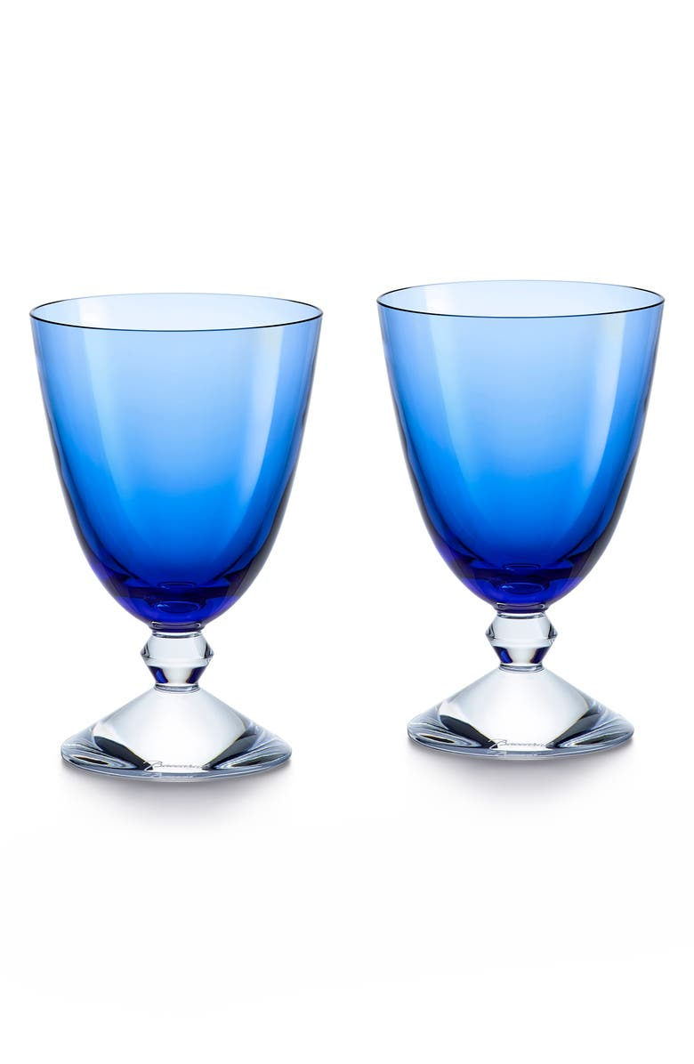 BACCARAT Véga Set of 2 Lead Crystal Water Glasses, Main, color, BLUE