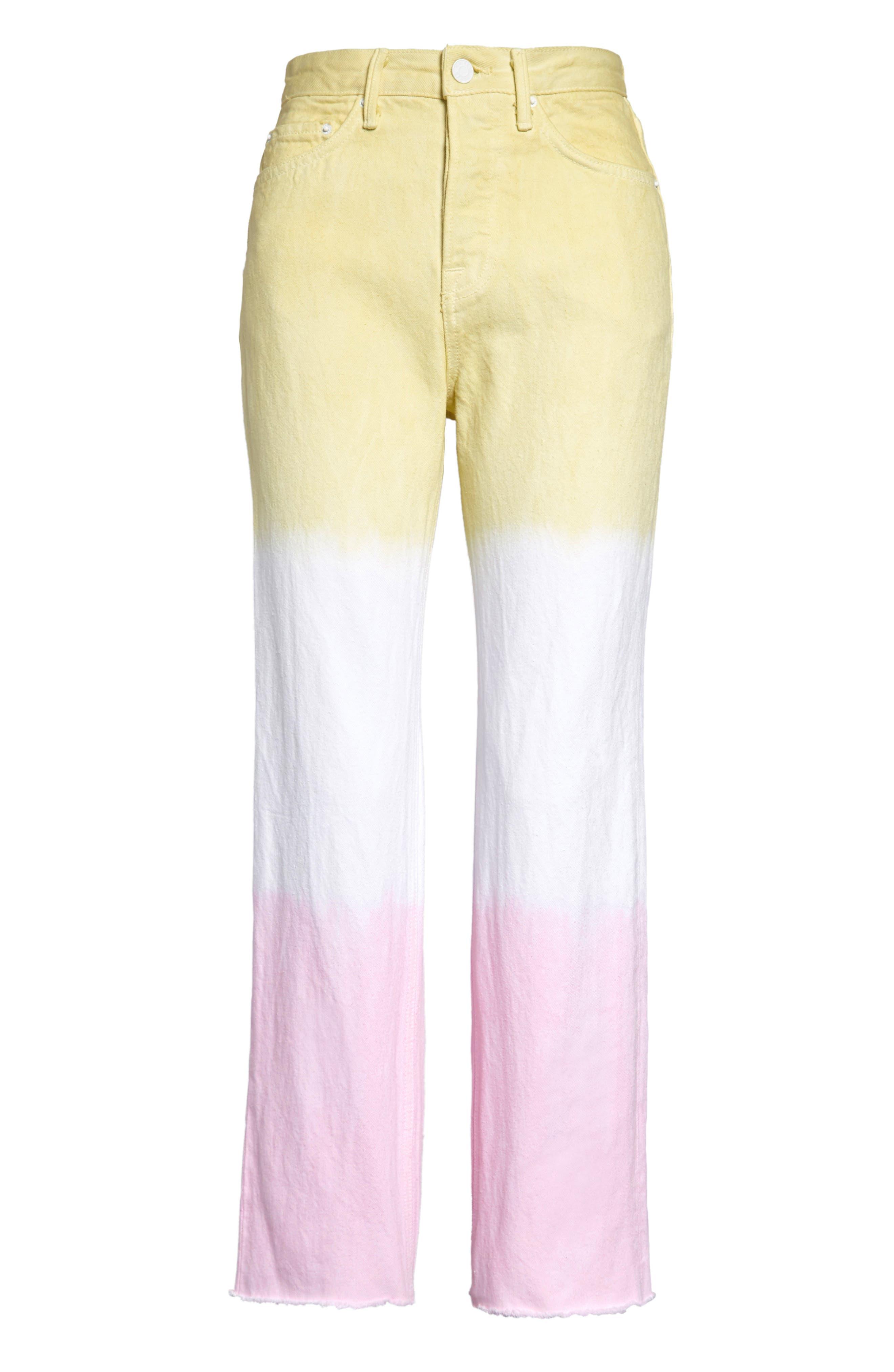 Mica Dye Stripe Crop Straight Leg Jeans