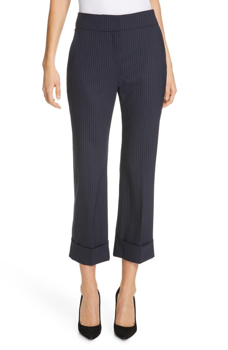 JUDITH & CHARLES Method B Chalk Stripe Stretch Wool Crop Trousers, Main, color, 460