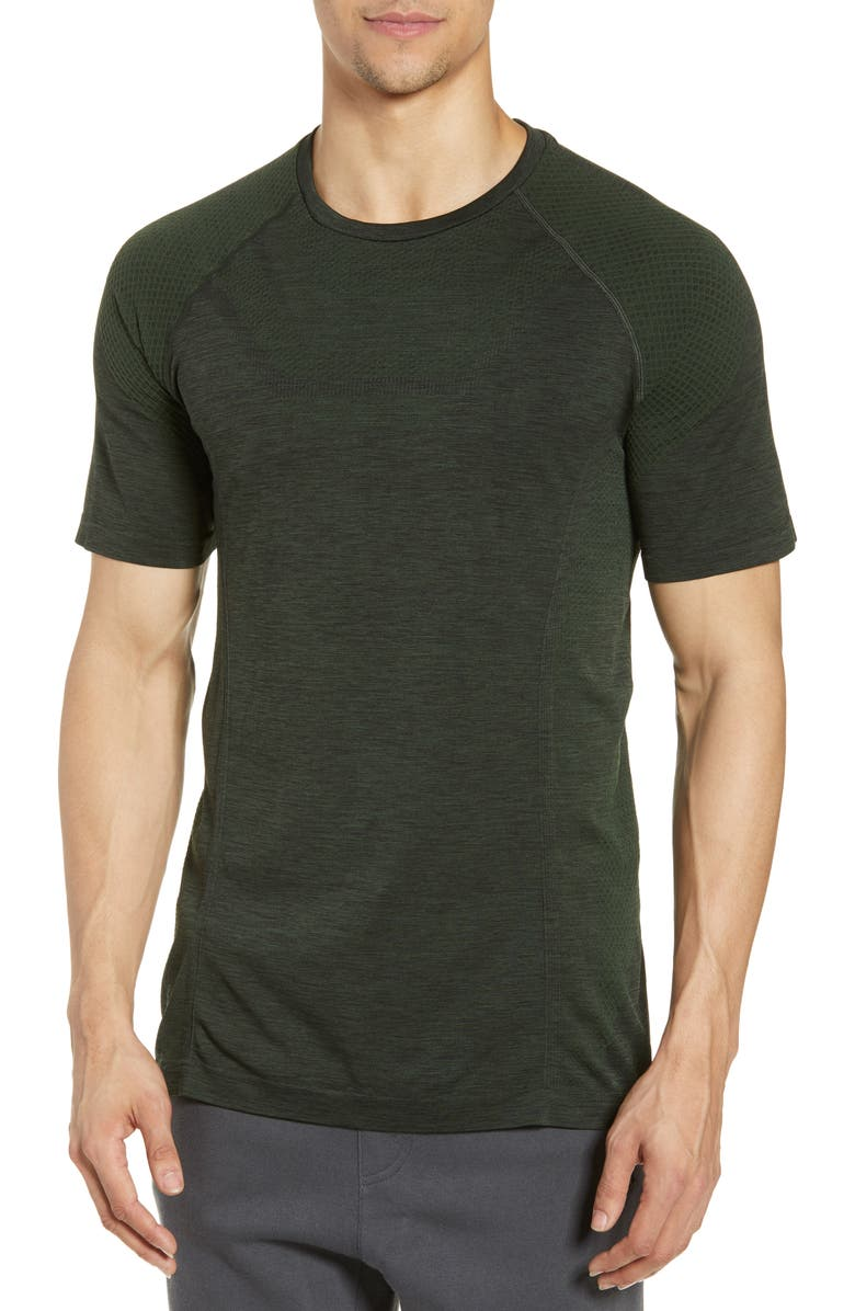 ALO Amplify Seamless Technical T-Shirt, Main, color, HUNTER HEATHER