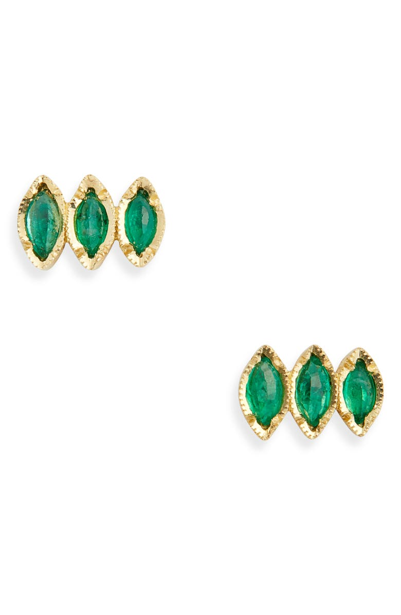 BROOKE GREGSON Triple Emerald Marquise Stud Earrings, Main, color, 710