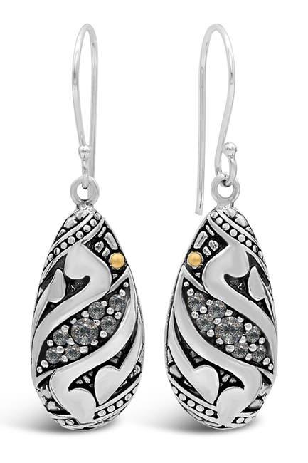 Image of DEVATA Sterling Silver Bali Filigree CZ Drop Earrings