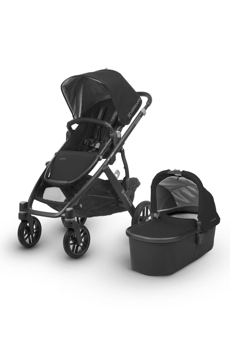 UPPABABY VISTA Aluminum Frame Convertible Complete Stroller with Leather Trim, Main, color, BLACK/ BLACK LEATHER