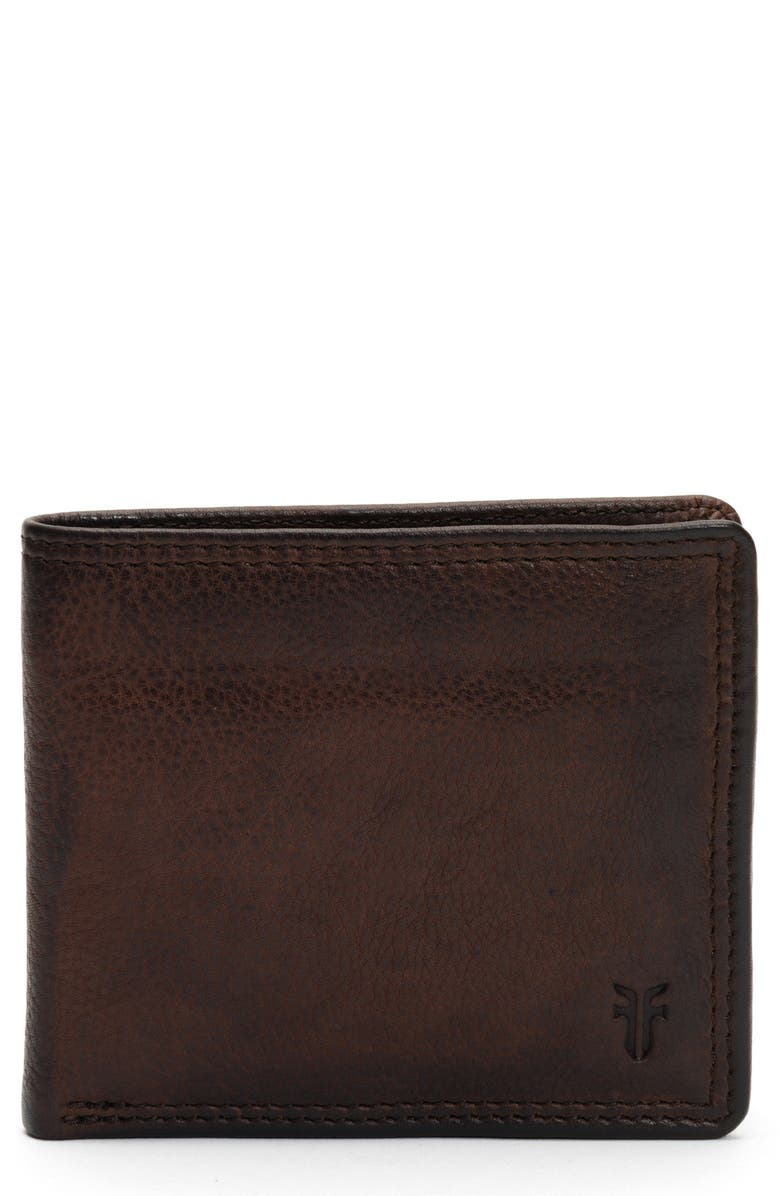 FRYE Murray Leather Double Billfold, Main, color, DARK BROWN