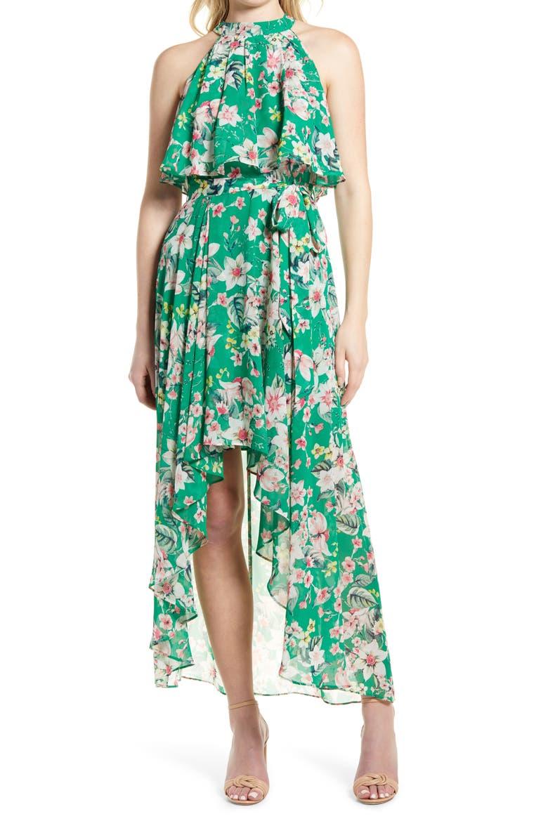 ELIZA J Floral Halter Neck Popover Chiffon Dress, Main, color, GREEN