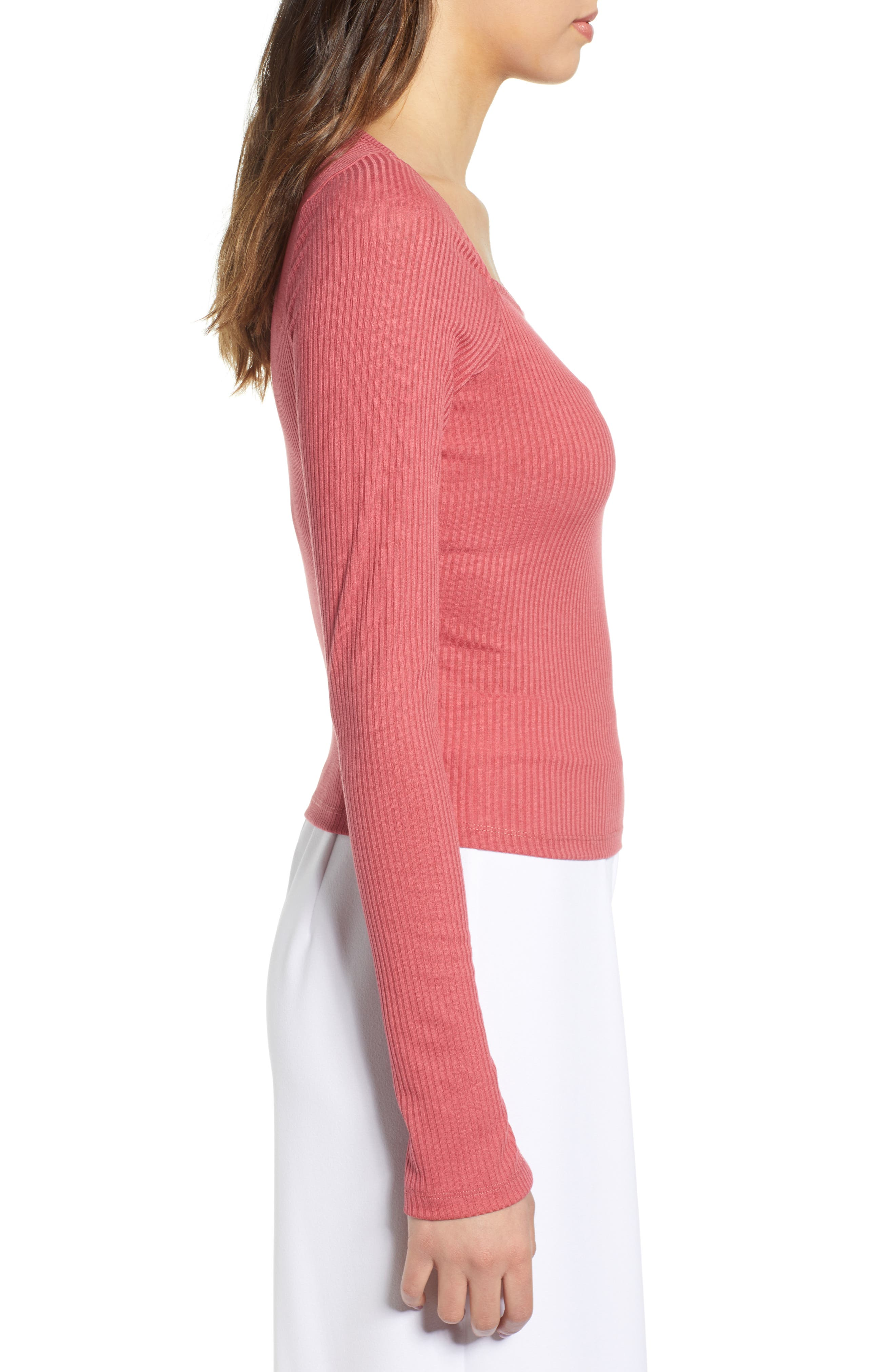 ,                             Square Neck Ribbed Tee,                             Alternate thumbnail 3, color,                             630