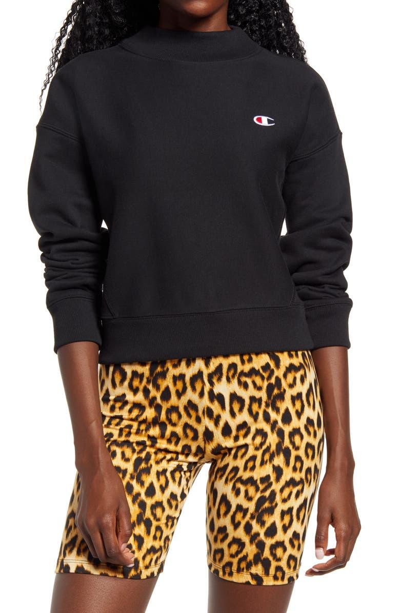 CHAMPION Mock Neck Reverse Panel Crop Sweatshirt, Main, color, BLACK
