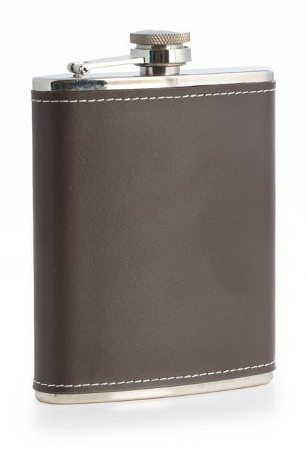 Image of Bey-Berk 6oz. Stainless Steel Brown Leather Flask