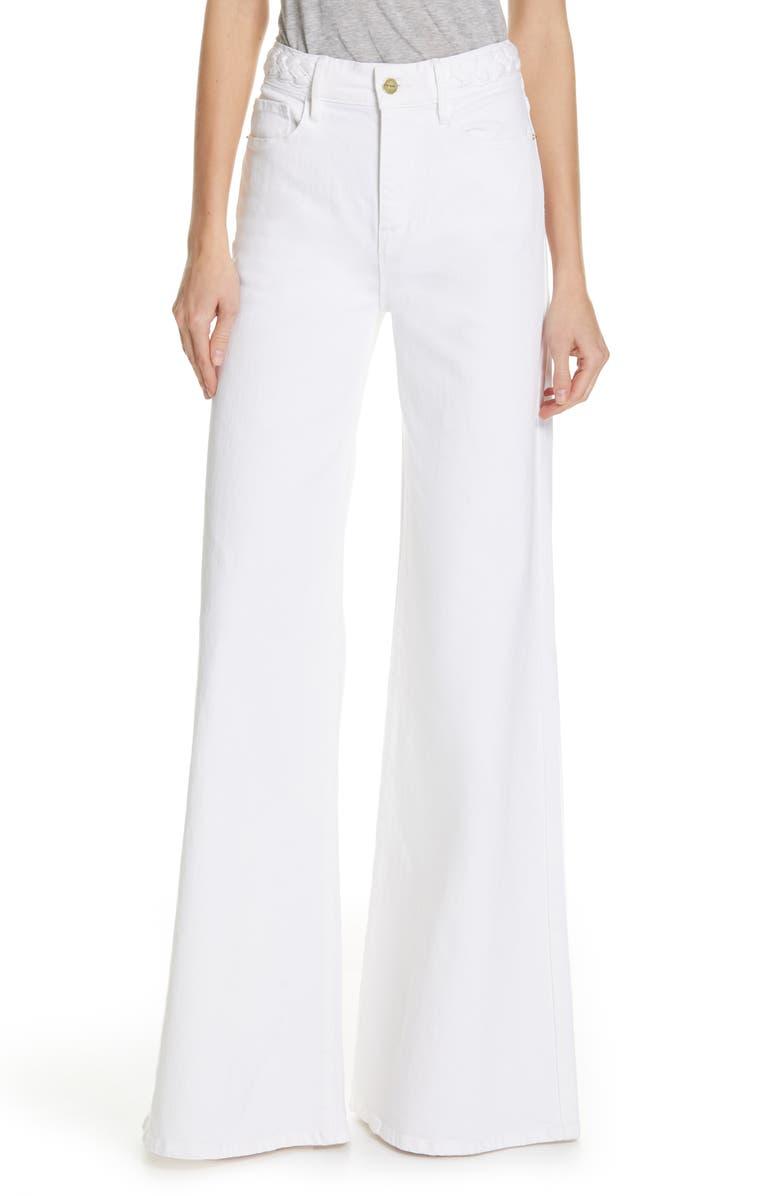 FRAME Le Palazzo Braid Waist Wide Leg Jeans, Main, color, BLANC