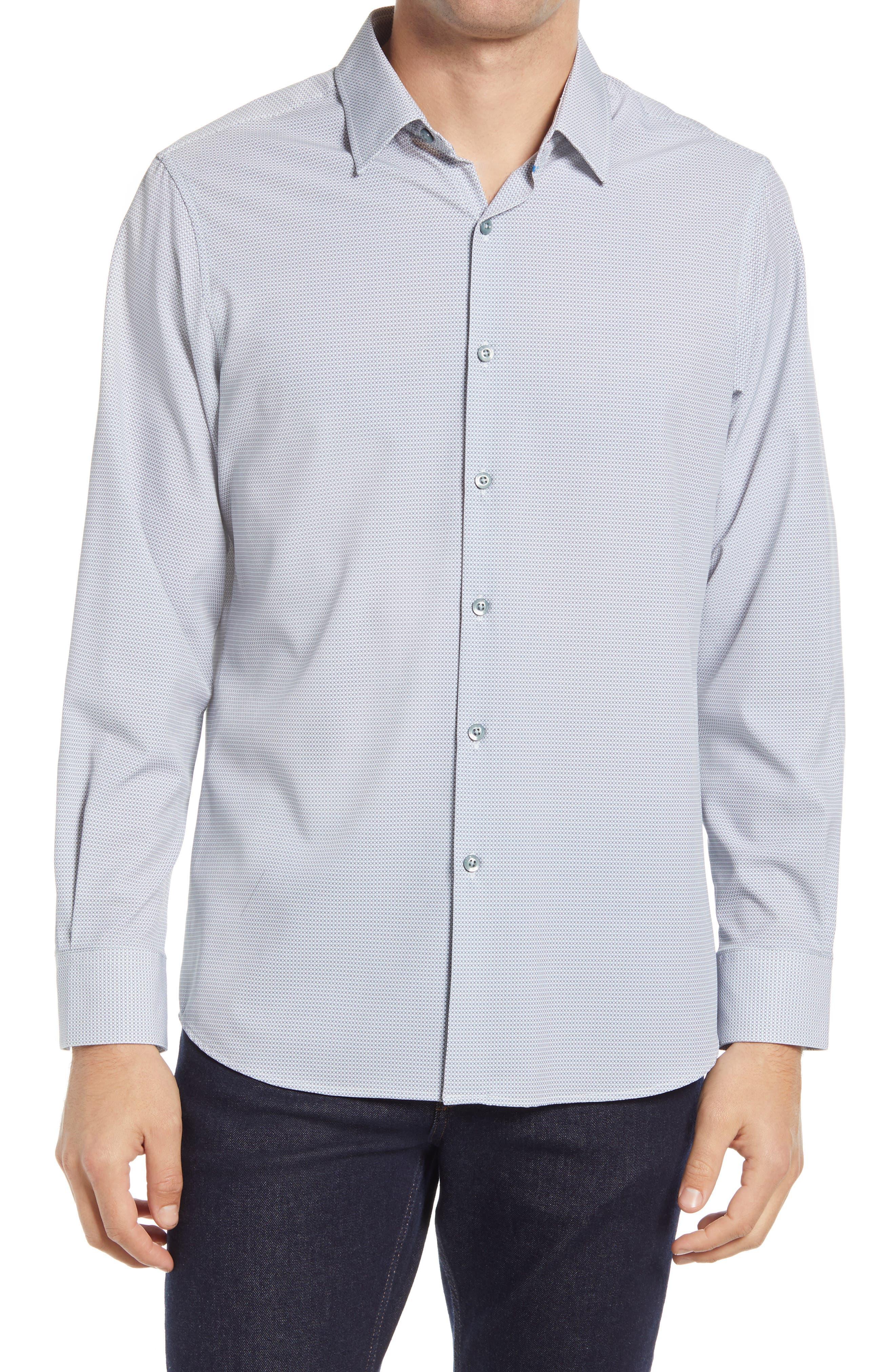 Trim Fit Print Button-Up Performance Shirt