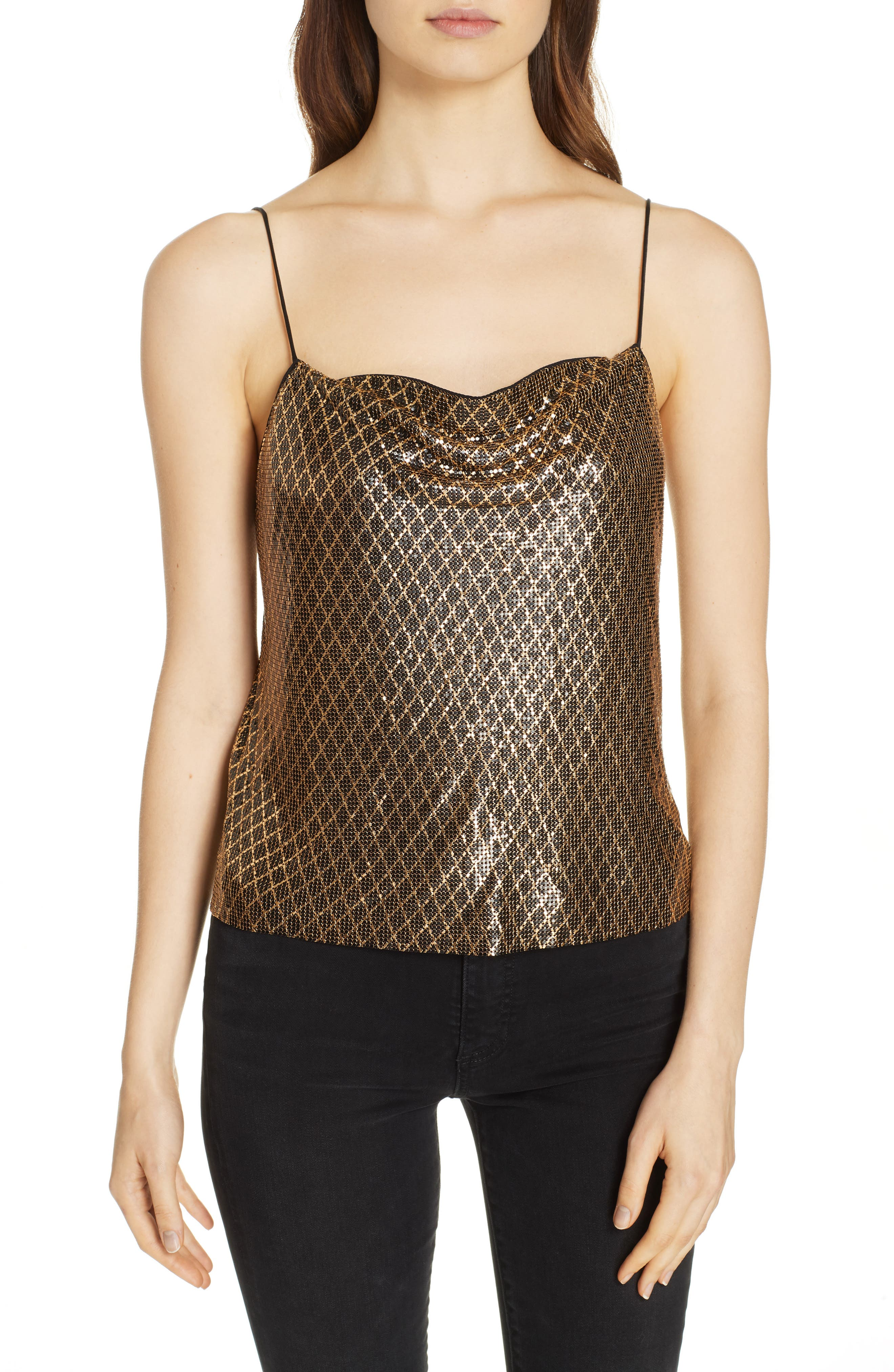 ,                             Harmon Chain Mail Drapey Camisole,                             Main thumbnail 1, color,                             BLACK/ GOLD
