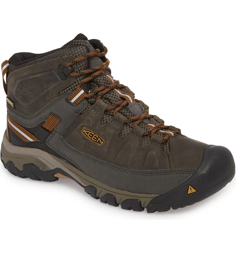 KEEN Targhee III Mid Waterproof Hiking Boot, Main, color, BLACK OLIVE/GOLDEN BROWN