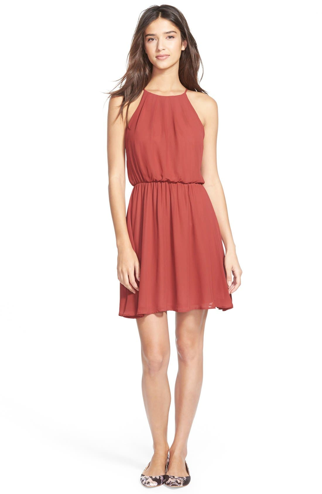 ,                             Blouson Chiffon Skater Dress,                             Main thumbnail 190, color,                             629