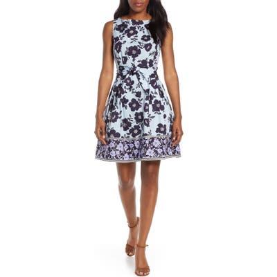 Petite Vince Camuto Floral & Stripe Fit & Flare Dress, Blue