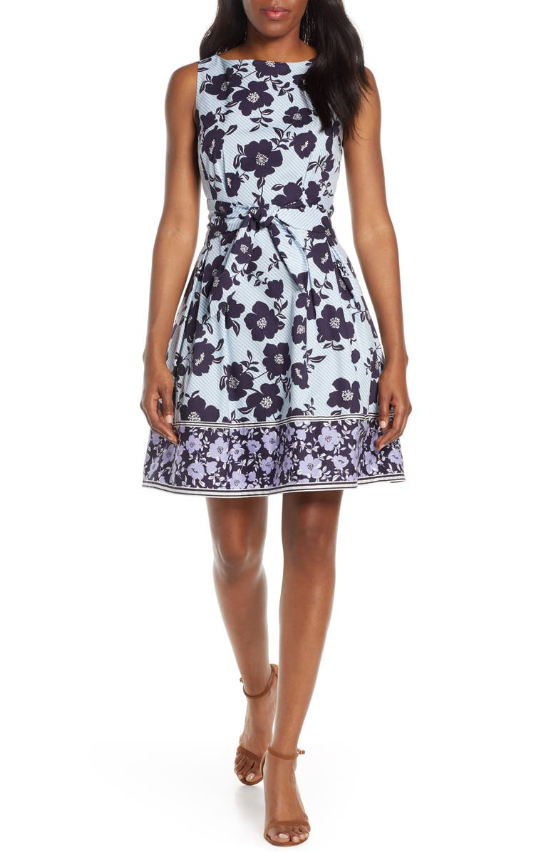 VINCE CAMUTO Floral & Stripe Fit & Flare Dress, Main, color, PURPLE/ BLUE