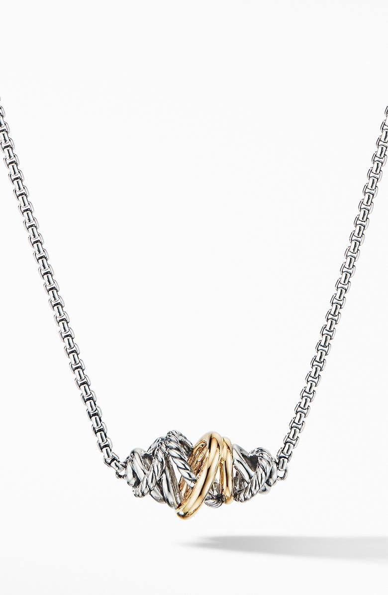 DAVID YURMAN Crossover Short Station with 18K Yellow Gold, Main, color, SILVER/ GOLD