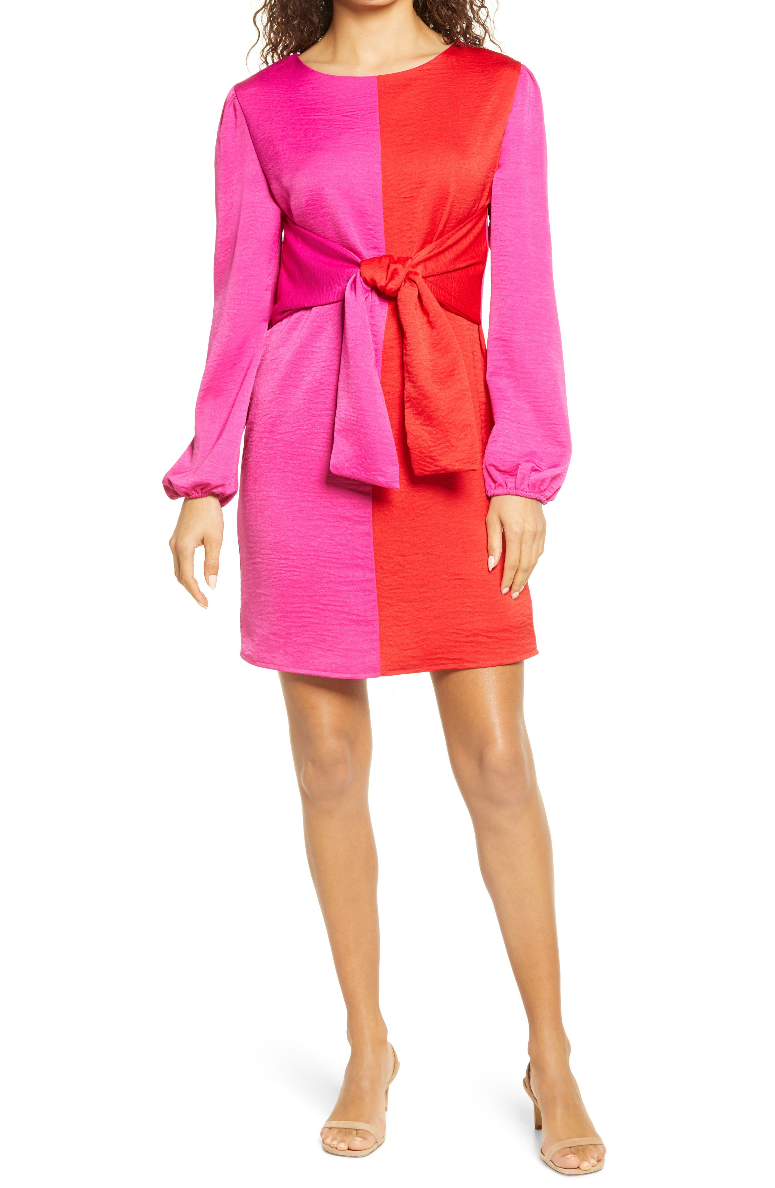 Colorblock Tie Waist Long Sleeve Dress