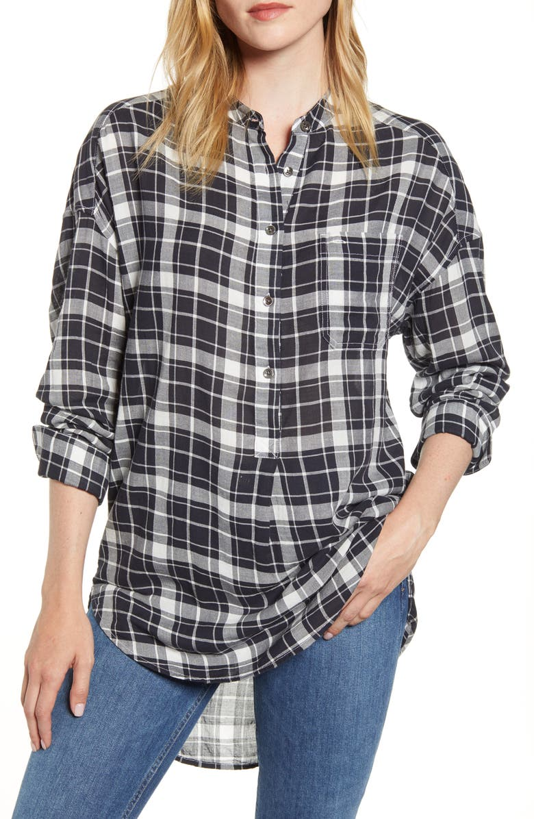 ALEX MILL Plaid Popover Tunic Shirt, Main, color, BLACK/ WHITE