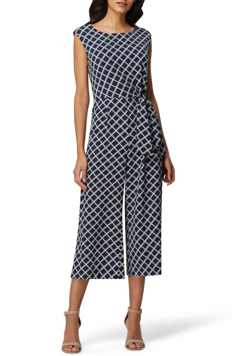 TAHARI Pebble Tie Waist Crepe Crop Jumpsuit, Main, color, NAVY WHITE BASKET